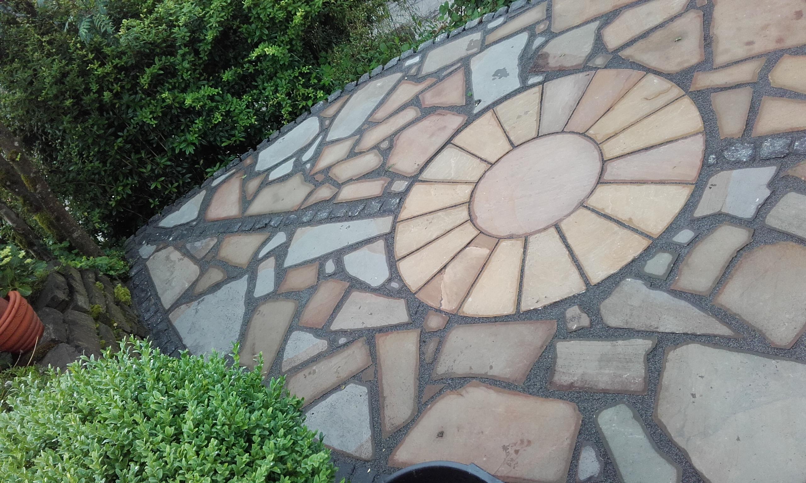 Polygonalplatten Terrasse